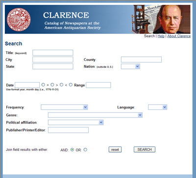 Clarence search screen
